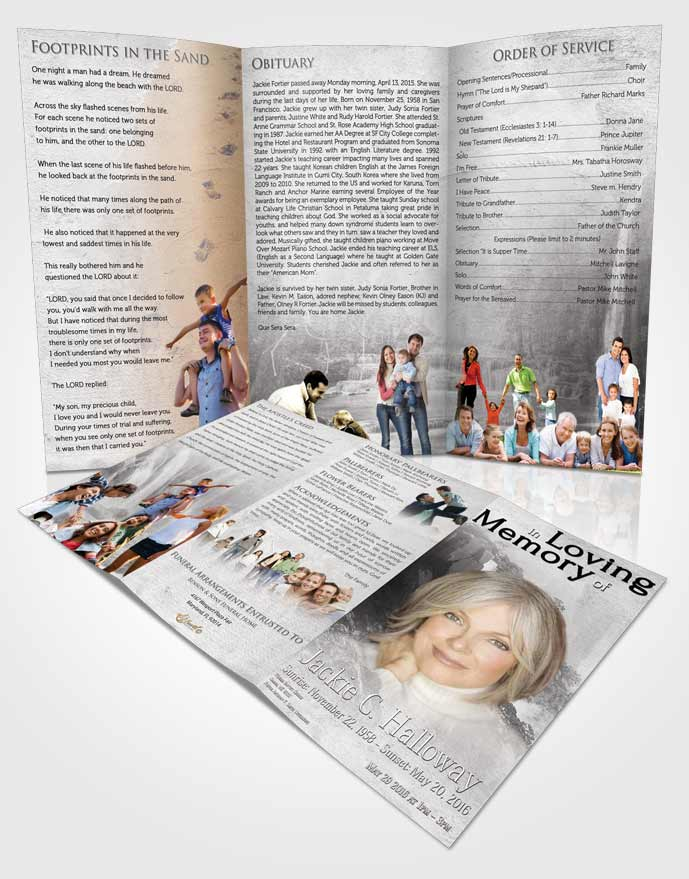 obituary template trifold brochure natures free waterfall