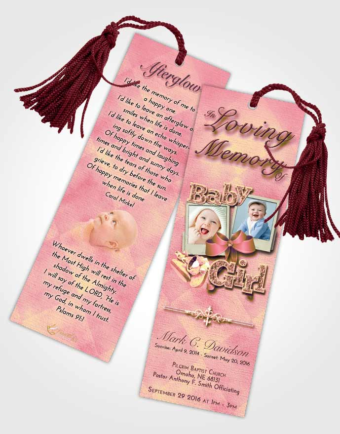 Obituary Template Trifold Brochure Loving Mix Baby Girl Funeralparlour