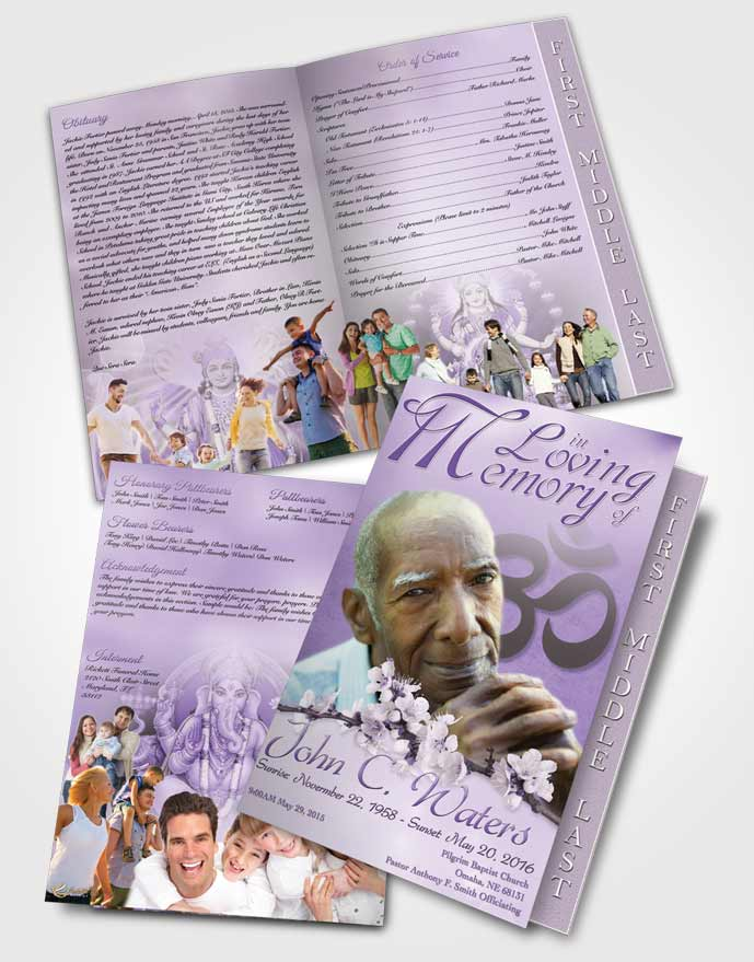2 Page Graduated Step Fold Funeral Program Template Brochure Hindu Love  Lavender Honor • FuneralParlour