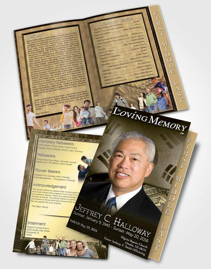 Page Graduated Step Fold Funeral Program Template Brochure Korean - Funeral programs templates